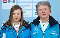 Janja Zdovc and coach Gorazd Polanec at Official photo of  Slovenia Snow Boarding team for  European Youth Olympic Festival (EYOF) in Liberec (CZE) at official presentation, on February  9, 2011 at Bled Castle, Slovenia. (Photo By Vid Ponikvar / Sportida.com)