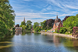 Scenic view of Minnewater park, Bruges, Belgium