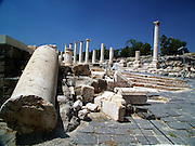 """Roman temple at the ruins of Bet She'an Israel. Bet shean is located in the northn regions of Israel, Bet She'an was the site of an Egyptian administrative center during the XVIII and XIX dynasties. In Hellenistic times it was a Scythian city from circa 625 to 300 B.C., and the biblical city Beth-shean. In 64 BC it was taken by the Romans, rebuilt, and made the center of the Decapolis, the """"Ten Cities"""" of Samaria that were centers of Greco-Roman culture. The city contains the best preserved Roman theater of ancient Samaria.<br /> <br /> During the 6th century Byzantine period, Bet She'an housed a Christian monastery named the Monastery of Lady Mary which has a Zodiac mosaic that is still preserved today."""