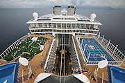 The launch of Royal Caribbean International's Oasis of the Seas, the worlds largest cruise ship..View from Galley funnel showing golf and basket ball pitch.