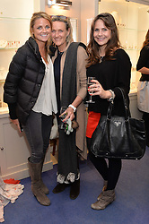 Left to right, GEORGIA BROUGHTON, JENNY LEDERMAN and SARAH RATNER at a preview of the latest collections by jewellery designer Kiki Mcdonough and fashion label Beulah held at Kiki McDonough Jewellery, 12 Symons Street, London on 5th March 2014.