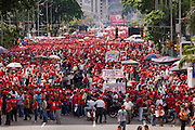 President Hugo Chavez's supporters stage a pro-Chavez demonstration in support of proposed constitutional reforms giving him more power in Caracas, Venezuela in November 2007.