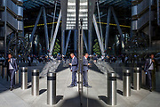 City workers in the modern architecture of Leadenhall where many insurance brokers and companies are grouped near Lloyds of London (left) in the City of London, (aka The Square Mile) the capital's financial district, on 3rd September 2019, in London, England.