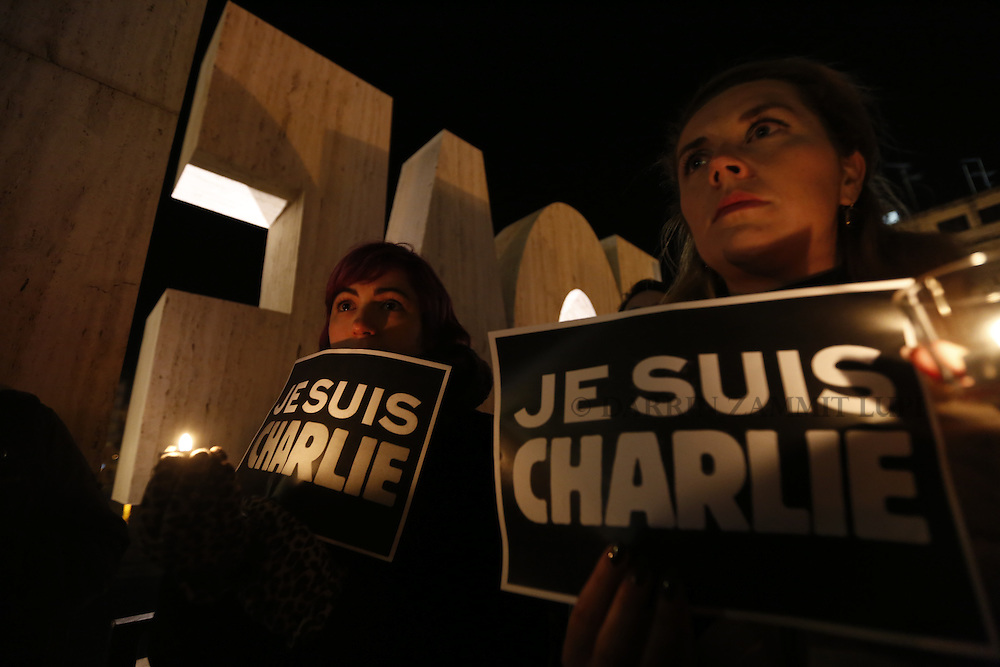 Je Suis Charlie demonstration and vigil in St Julian's