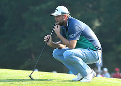 August 10, 2018 - St. Louis, Missouri, U.S. - ST. LOUIS, MO - AUGUST 10: Marc Fleishman ponders how he is going to hit his putt on the #10 green during the second round of the PGA Championship on August 10, 2018, at Bellerive Country Club, St. Louis, MO.  (Photo by Keith Gillett/Icon Sportswire) (Credit Image: © Keith Gillett/Icon SMI via ZUMA Press)