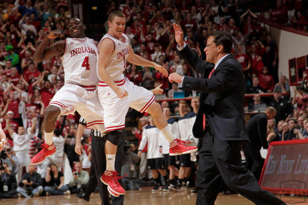 27 November 2011: Indiana Guard Victor Oladipo (4) , Indiana Guard Jordan Hulls (1) as the Indiana Hoosiers played the Butler Bulldogs in a college basketball game in Bloomington, Ind.