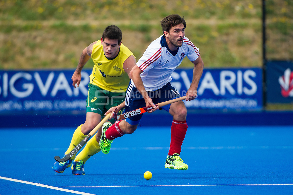 Great Britain's Adam Dixon. Great Britain v Australia, Lee Valley Hockey & Tennis Centre, London, UK on 13 June 2015. Photo: Simon Parker