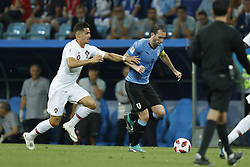 (L-R) Andre Silva of Portugal, Diego Godin of Uruguay during the 2018 FIFA World Cup Russia round of 16 match between Uruguay and at the Fisht Stadium on June 30, 2018 in Sochi, Russia