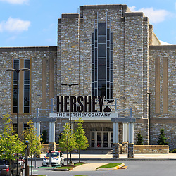 Hershey, PA, USA - May 21, 2018: The Entrance of the Hershey Company Chocolate factory in downtown Hershey.