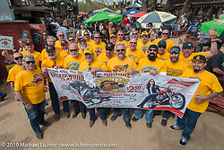 Hamster Group photo at Greasewood Flats bar during the Hamster Dry Heat Run on Thursday of Arizona Bike Week 2014. USA. April 4, 2014.  Photography ©2014 Michael Lichter.