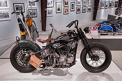 Taber Nash's ROCINANTE custom S&S rigid Knucklehead in the More Mettle - Motorcycles and Art That Never Quit exhibition in the Buffalo Chip Events Center Gallery during the Sturgis Motorcycle Rally. SD, USA. Wednesday, August 11, 2021. Photography ©2021 Michael Lichter.