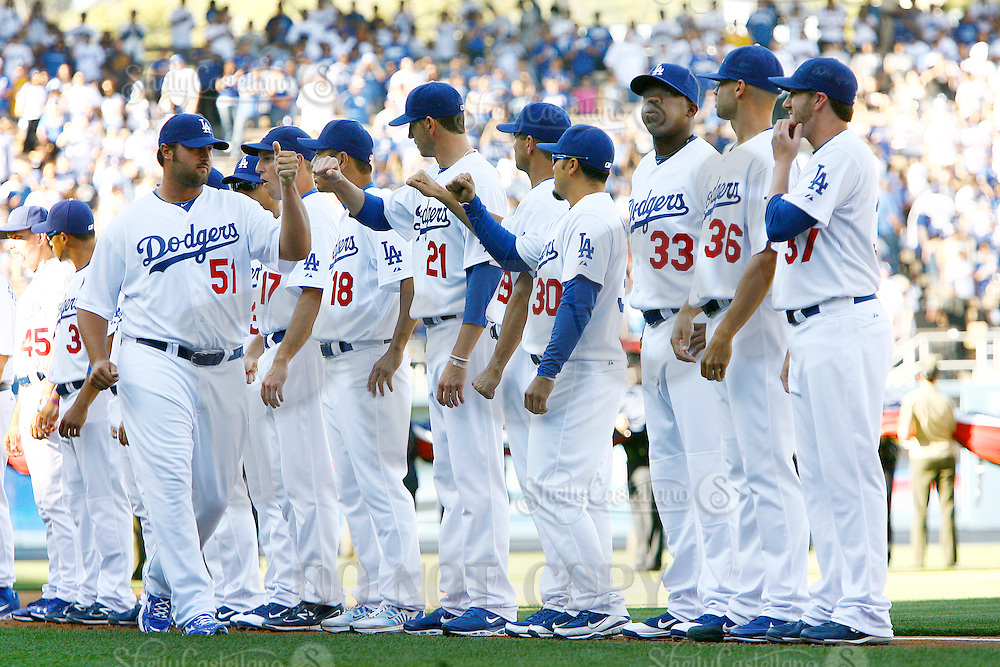 31 March 2011: Dodgers player #51 Jonathan Broxton was introduced on the field before the San Francisco Giants were defeated 2-1 by the Los Angeles Dodgers  during a sold out game at Dodger Stadium in Los Angeles, California on opening day..***** Editorial Use Only *****