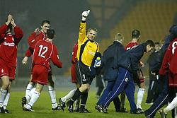 Falkirk's Alan Ferguson and players cele win towards fans after a Falkirk win..St Johnstone v Falkirk..30/11/02©Michael Schofield.
