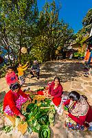 Gurkha women making chesnut leaf plates used for puja, Chitepani village, near Pokhara, Nepal.