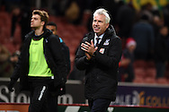 Alan Pardew, the Crystal Palace manager applauds the Palace fans at the end of the game. Barclays Premier league match, Stoke city v Crystal Palace at the Britannia Stadium in Stoke on Trent, Staffs on Saturday 19th December 2015.<br /> pic by Andrew Orchard, Andrew Orchard sports photography.