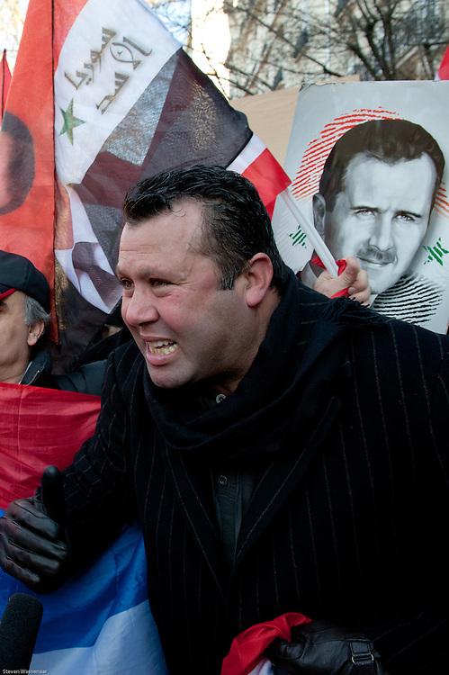 Bachar Al Assad supporter before Russian Ambassy, Paris, France.
