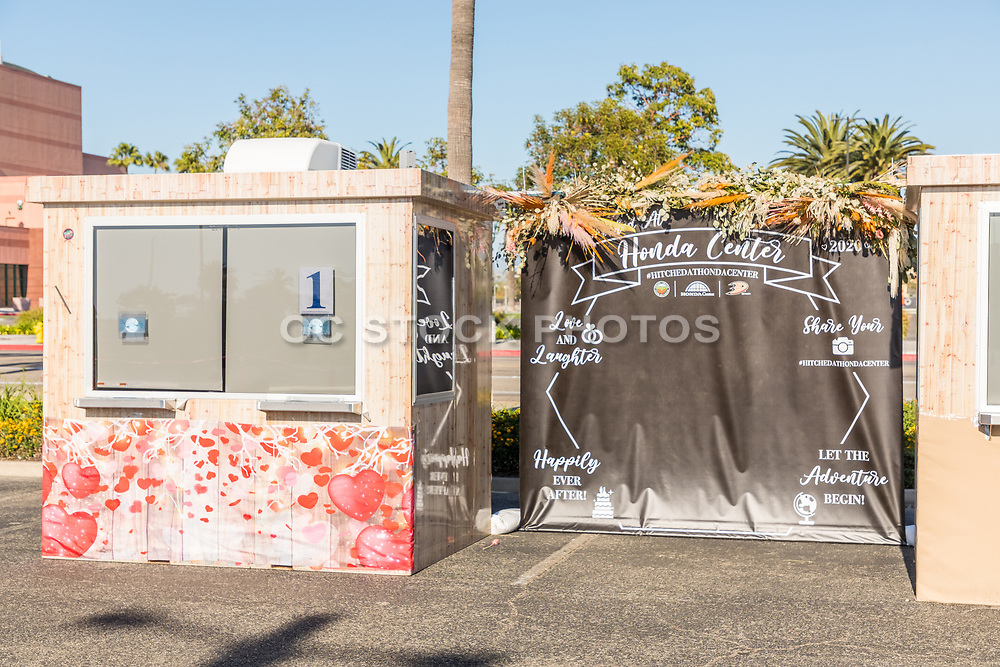 Temporary Wedding Photo Booth in the Parking Lot at Anaheim Honda Center