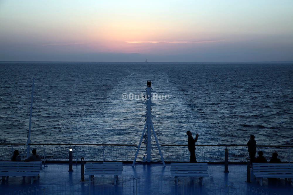 on back deck of passenger ferry ship on the Mediterranean Sea