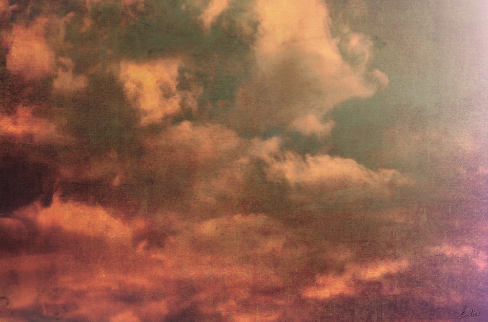 Textured, fiery, dramatic sky at sunset.