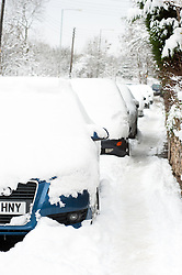 Snow covered cars parked on the A629 Cowley Lane Chapeltown as people choose to walk rather than take their cars out in the most widespread Snows to hit Britain for 20 years..1st December 2010.Images © Paul David Drabble