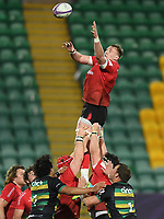 Rugby Union - 2020 / 2021 ER Challenge Cup - Quarter-final - Northampton Saints vs Ulster - Franklin Gardens<br /> <br /> Ulster Rugby's Kieran Treadwell claims the lineout<br /> <br /> COLORSPORT/ASHLEY WESTERN