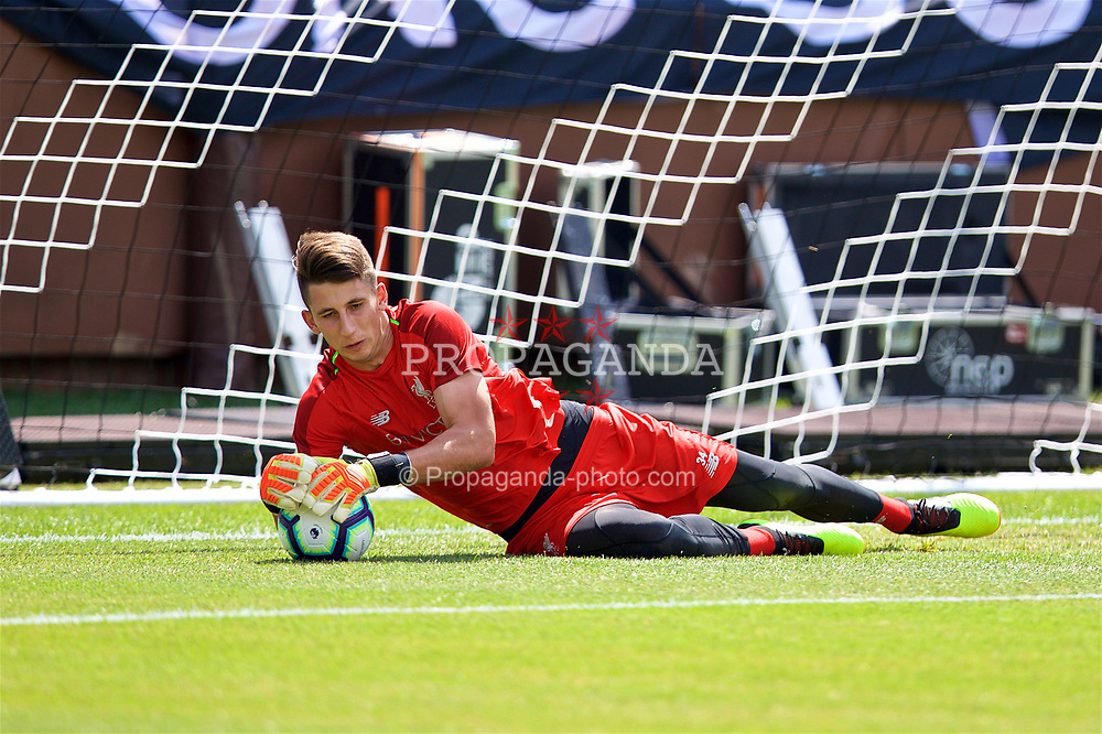 ANN ARBOR, USA - Friday, July 27, 2018: Liverpool's goalkeeper Kamil Grabara during a training session ahead of the preseason International Champions Cup match between Manchester United FC and Liverpool FC at the Michigan Stadium. (Pic by David Rawcliffe/Propaganda)