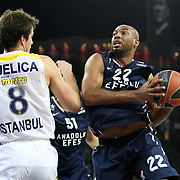 Anadolu Efes's Alfred Jamon Lucas (R) during their Euroleague Top 16 round 7 basketball match Anadolu Efes between Fenerbahce Ulker at the Abdi Ipekci Arena in Istanbul at Turkey on Friday, February 21, 2014. Photo by Aykut AKICI/TURKPIX