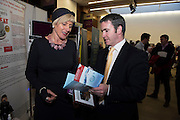 Julia McAndrew of Irish Kangen Water with  Damien English TD, Minister of State at the Department of Jobs, Enterprise & Innovationat the annual SCCUL Enterprise Awards prize giving ceremony and business expo which was hosted by NUI Galway in the Bailey Allen Hall, NUIG. Photo:Andrew Downes