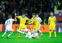 Kevin Kampl (SLO) vs Artem Fedetskiy (UKR) and Denys Garmash (UKR) during the UEFA EURO 2016 Play-off for Final Tournament, Second leg between Slovenia and Ukraine, on November 17, 2015 in Stadium Ljudski vrt, Maribor, Slovenia. Photo by Vid Ponikvar / Sportida