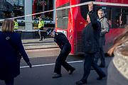 The morning after the terrorist attack at Fishmongers Hall on London Bridge, in which Usman Khan (a convicted, freed terrorist) killed 2 during a knife a attack, then subsequently tackled by passers-by and shot by armed police - Met Police Commissioner Cressida Dick leaves the cordon at the southern end of the bridge before touring Borough Market, on 30th November 2019, in London, England.