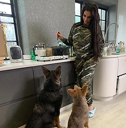 """Katie Price releases a photo on Instagram with the following caption: """"Bear and Sparkle \u2728\ud83d\udc3b \u2764\ufe0f"""". Photo Credit: Instagram *** No USA Distribution *** For Editorial Use Only *** Not to be Published in Books or Photo Books ***  Please note: Fees charged by the agency are for the agency's services only, and do not, nor are they intended to, convey to the user any ownership of Copyright or License in the material. The agency does not claim any ownership including but not limited to Copyright or License in the attached material. By publishing this material you expressly agree to indemnify and to hold the agency and its directors, shareholders and employees harmless from any loss, claims, damages, demands, expenses (including legal fees), or any causes of action or allegation against the agency arising out of or connected in any way with publication of the material."""