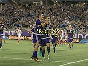 MLS Game, Orlando City v San Jose Earthquake, Orlando City dedicate match to Pulse nightclub Shootings In Orlando.  <br /> 06-18-16.<br /> Orlando's Seb Hines celebrates putting Orlando 1-0 up . <br /> Orlando, Florida, USA.<br /> Picture  Mark Davison for DailyMail.com<br /> Saturday 18th June 2016.