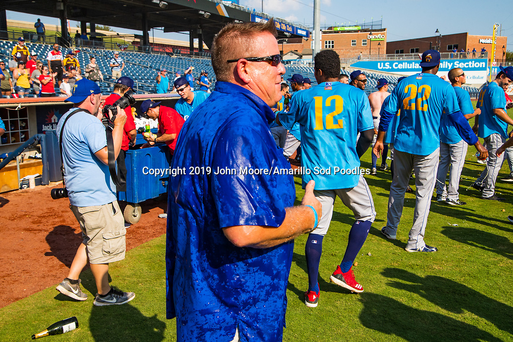 Tony Ensor celebrates after the Sod Poodles won against the Tulsa Drillers during the Texas League Championship on Sunday, Sept. 15, 2019, at OneOK Field in Tulsa, Oklahoma. [Photo by John Moore/Amarillo Sod Poodles]
