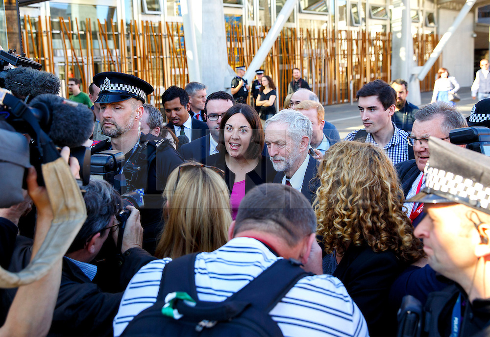© Licensed to London News Pictures. 01/10/2015. Edinburgh, UK. Leader of Scottish Labour Party Kezia Dugdale and Leader of UK Labour Party Jeremy Corbyn visiting Scottish Parliament in Edinburgh on Thursday, 1 October 2015 whilst making his first visit to Scotland as leader of the UK Labour Party. Photo credit: Tolga Akmen/LNP