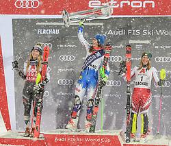 08.01.2019, Hermann Maier Weltcupstrecke, Flachau, AUT, FIS Weltcup Ski Alpin, Slalom, Damen, 2. Lauf, im Bild Mikaela Shiffrin (USA, zweiter Platz) Petra Vlhova (SVK, Siegerin) Katharina Liensberger (AUT, dritter Platz) // second place Mikaela Shiffrin of the USA winner Petra Vlhova of Slovakia third place Katharina Liensberger of Austria reacts after her 2nd run of ladie's Slalom of FIS ski alpine world cup at the Hermann Maier Weltcupstrecke in Flachau, Austria on 2019/01/08. EXPA Pictures © 2019, PhotoCredit: EXPA/ Erich Spiess