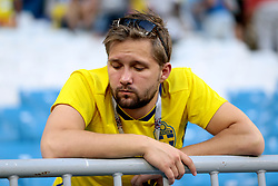 A Sweden supporter appears dejected at the end of the FIFA World Cup, Quarter Final match at the Samara Stadium.