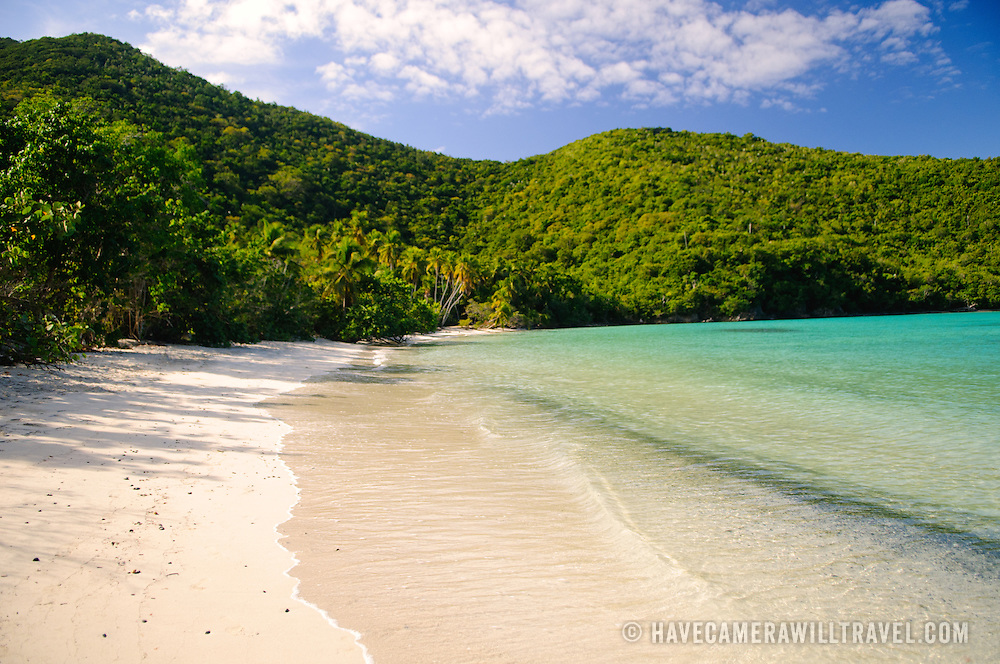View of the scenic Maho Bay on St. John, US Virgin Islands, in the Caribbean
