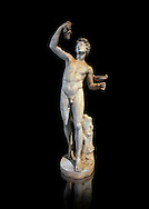 Roman marble sculpture of Faun, a 2nd century AD copy from an original of a late 2nd - 1st century BC late Hellanistic Greek original, inv 6332 Farnes Collection Naples Museum of Archaeology, Italy ..<br /> <br /> If you prefer to buy from our ALAMY STOCK LIBRARY page at https://www.alamy.com/portfolio/paul-williams-funkystock/greco-roman-sculptures.html . Type -    Naples    - into LOWER SEARCH WITHIN GALLERY box - Refine search by adding a subject, place, background colour, etc.<br /> <br /> Visit our ROMAN WORLD PHOTO COLLECTIONS for more photos to download or buy as wall art prints https://funkystock.photoshelter.com/gallery-collection/The-Romans-Art-Artefacts-Antiquities-Historic-Sites-Pictures-Images/C0000r2uLJJo9_s0