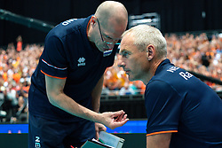 11-08-2019 NED: FIVB Tokyo Volleyball Qualification 2019 / Netherlands - USA, Rotterdam<br /> Final match pool B in hall Ahoy between Netherlands vs. United States (1-3) and Olympic ticket  for USA / Coach Roberto Piazza of Netherlands, Ass. coach Henk-Jan Held of Netherlands