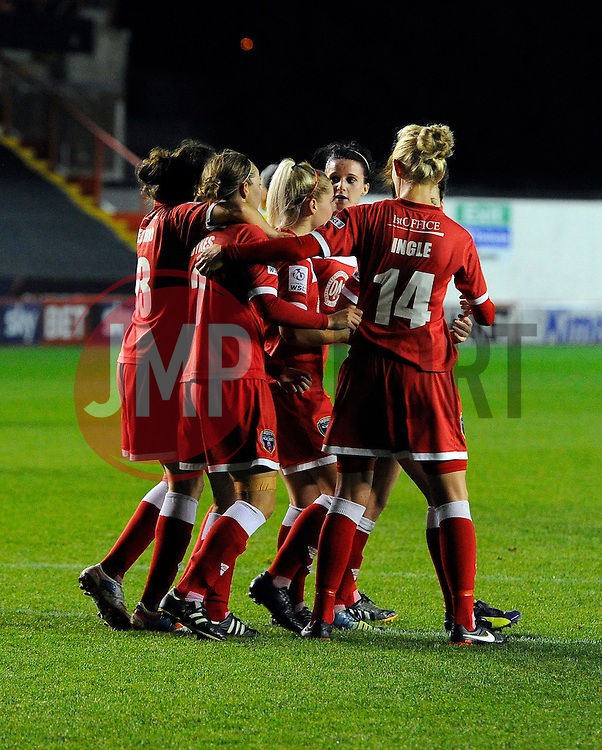 Bristol Academy Womens' Nikki Watts  celebrates with team mates  - Photo mandatory by-line: Joe Meredith/JMP - Mobile: 07966 386802 - 13/11/2014 - SPORT - Football - Bristol - Ashton Gate - Bristol Academy Womens FC v FC Barcelona - Women's Champions League