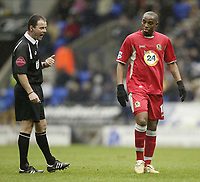 Photo: Aidan Ellis.<br /> Bolton Wanderers v Blackburn Rovers. The Barclays Premiership. 04/03/2007.<br /> Referee Rob Styles talks to Rovers two goal hero Benni McArthy
