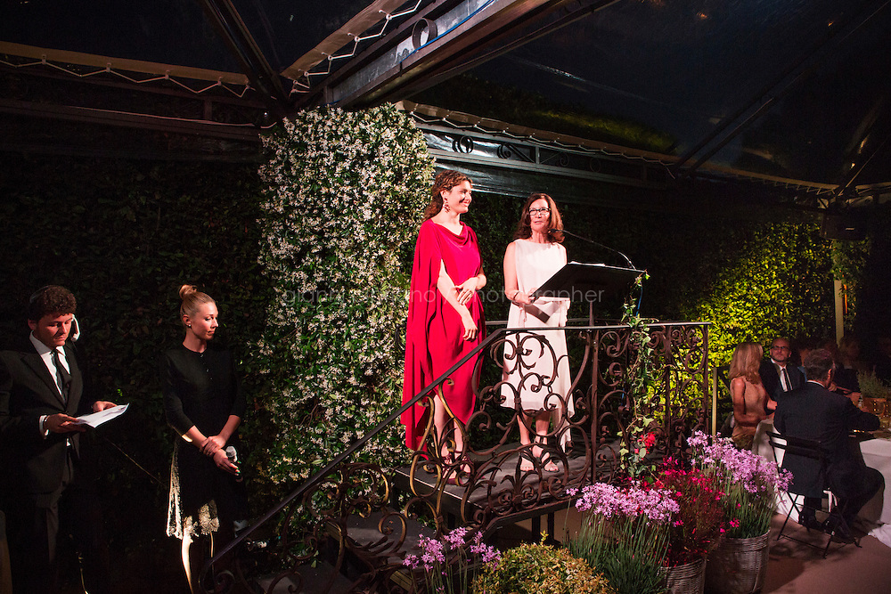 ROME, ITALY - 3 JUNE 2015: (R-L) Chair of the Board of Trustees Mary Margaret Jones and Gala Chair Ginevra Elkann give a speech at the McKim Medal Gala honouring Carlo Petrini and Paolo Sorrentino at the American Academy  in Rome, Italy, on June 3rd 2015.