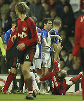Photo: Aidan Ellis.<br /> Blackburn Rovers v Bayer Leverkusen. UEFA Cup, 2nd Leg. 22/02/2007.<br /> Rovers David Dunn pushes over Bayer's Sergej Barbarez to the floor as tempers fray near the end.