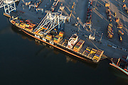 Aerial view of ships in the Wando Welch shipping container port in Mt Pleasant, SC