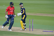 Essex captain Ravi Bopara is run out by Mason Crane during the Royal London One Day Cup match between Hampshire County Cricket Club and Essex County Cricket Club at the Ageas Bowl, Southampton, United Kingdom on 5 June 2016. Photo by David Vokes.