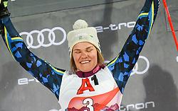 14.01.2020, Hermann Maier Weltcupstrecke, Flachau, AUT, FIS Weltcup Ski Alpin, Slalom, Damen, Siegerehrung, im Bild Anna Swenn Larsson (SWE) // Anna Swenn Larsson of Sweden durint the winner ceremony for the women's Slalom of FIS ski alpine world cup at the Hermann Maier Weltcupstrecke in Flachau, Austria on 2020/01/14. EXPA Pictures © 2020, PhotoCredit: EXPA/ Erich Spiess