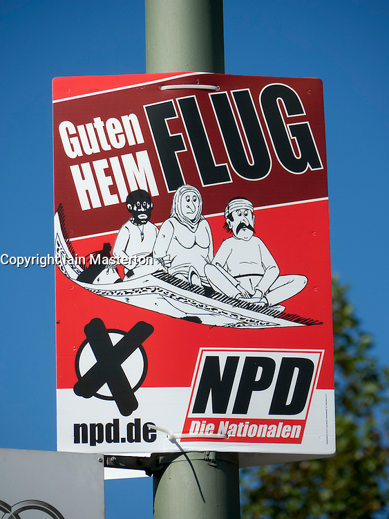 """Racist party political election poster with message """"Have a good flight home""""  by the NPD  or National Democratic Party of Germany in Berlin Germany before elections on 18 September 2011"""