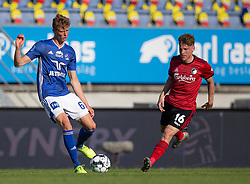 Frederik Winther (Lyngby Boldklub) og Pep Biel (FC København) under kampen i 3F Superligaen mellem Lyngby Boldklub og FC København den 1. juni 2020 på Lyngby Stadion (Foto: Claus Birch).
