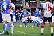 Lee Brown of Portsmouth looks to take a free kick during the The FA Cup 1st round match between Maidenhead United and Portsmouth at York Road, Maidenhead, United Kingdom on 10 November 2018.