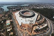 Belo Horizonte_MG, Brasil.<br /> <br /> Imagem aerea da reforma do estadio Governador Magalhaes Pinto, Mineirao, ao fundo Lagoa da Pampulha e Mineirinho, em Belo Horizonte, Minas Gerais.<br /> <br /> Aerial view of  works in Governador Magalhaes Pinto stadium, Mineirao, in the background Pampulha Lake and Mineirinho in Belo Horizonte, Minas Gerais.<br /> <br /> Foto: JOAO MARCOS ROSA / NITRO